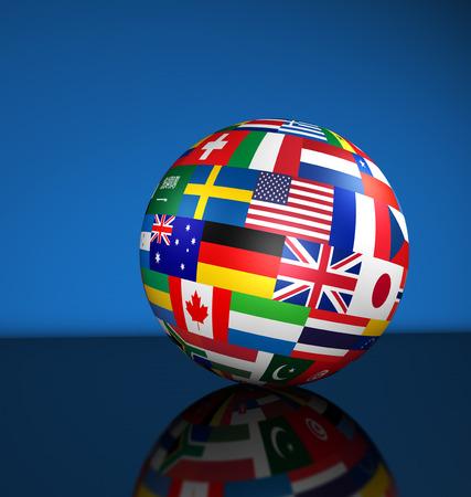 banderas del mundo: Indicadores del mundo en un globo para los negocios internacionales, la escuela, los servicios de viajes y global concepto de gestión 3d ilustración sobre fondo azul. Foto de archivo