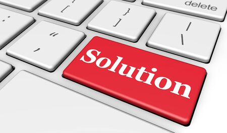 web solution: Solution sign and letters on a red computer keyboard for blog and web business concept 3d illustration.