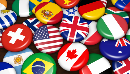 International business concept with world flags on scattered buttons badges background 3d illustration.
