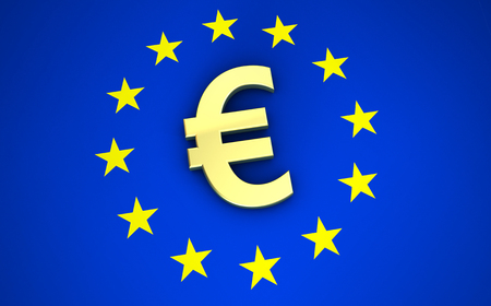 economic forecast: European Union financial concept 3D illustration with euro symbol, sign and icon on EU flag for blog, website and online business. Stock Photo
