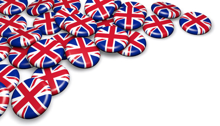 national holiday: United Kingdom union jack flag on badges and white background 3D illustration for UK national day events, holiday, memorial and celebration with copyspace. Stock Photo