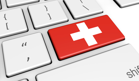 computer key: Switzerland digitalization and use of digital technologies concept with the Swiss flag on a computer key 3d illustration. Stock Photo