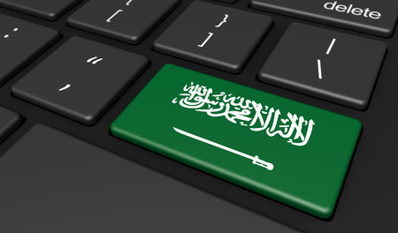 computer key: Saudi Arabia digitalization and use of digital technology with the Saudi Arabian flag on a computer key 3d illustration. Stock Photo