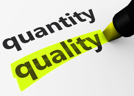 quantity: Quality versus quantity business and life concept with a 3D Rendering of words and text highlighted with a yellow marker. Stock Photo