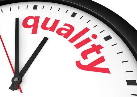 convivencia familiar: Calidad negocio de tiempo y el concepto de estilo de vida con una palabra de reloj y la calidad y firmar impresos imagen 3D en rojo. Foto de archivo