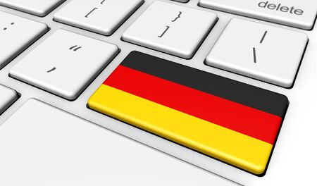 computer key: Germany digitalization and use of digital technology with the German flag on a computer key 3d illustration.