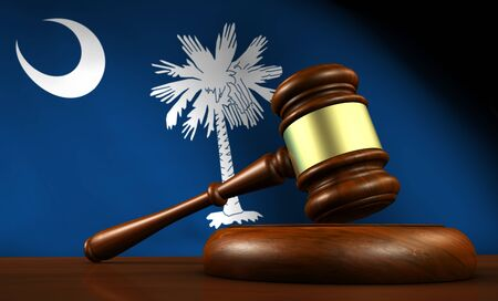 government regulations: South Carolina law, legal system and justice concept with a 3d Rendering of a gavel on a wooden desktop and the South Carolinian flag on background.