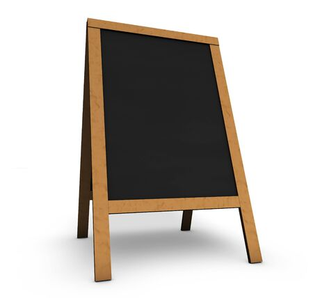 space program: Blank wooden vintage restaurant chalkboard or board with empty black space for menu, daily food or event program 3D illustration on white background.