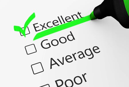 green check mark: Product quality control business survey and customer service checklist with excellent word checked with a green check mark 3D illustration.