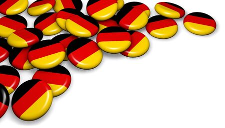 copyspace: Germany flag on badges background image for German national day events, holiday, memorial and celebration 3D illustration with copyspace. Stock Photo