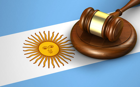 legality: Argentina law, legal system and justice concept with a 3D rendering of a gavel and the Argentine flag on background.
