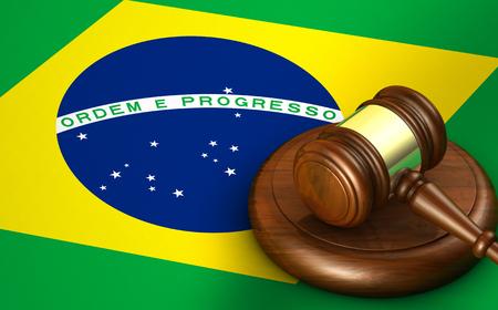 Brazilië wet, rechtsorde en rechtvaardigheid concept met een 3D-weergave van een hamer en de Braziliaanse vlag op de achtergrond.