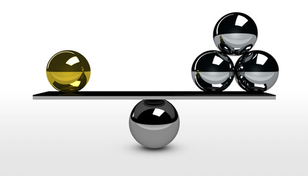 Quality versus quantity balance business and marketing concept 3D illustration.