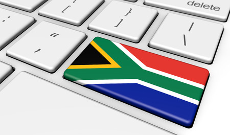 south african flag: South Africa digitalization and use of digital technologies concept with the South African flag on a computer keyboard 3D illustration.