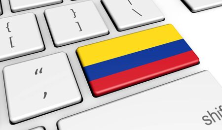 colombian flag: Colombia digitalization and use of digital technologies concept with the Colombian flag on a computer keyboard 3D illustration. Stock Photo