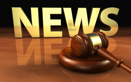 La ley, la justicia y noticias concepto legal con un mazo de madera y el signo de noticias y las letras en la ilustración de fondo en 3D.