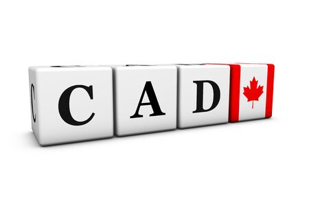 cad: Currency rates, exchange market and financial stock concept with CAD Canadian dollar code and the flag of Canada on cubes isolated on white 3D illustration.