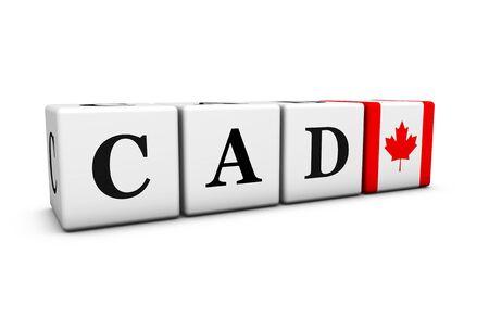 signo pesos: Los tipos de cambio, de cambio de mercado y el concepto de valores financieros con CAD código dólar canadiense y la bandera de Canadá en los cubos aislados en blanco Ilustración 3D. Foto de archivo