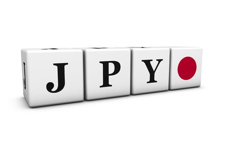 rates: Currency rates, exchange market and financial stock concept with JPY Japanese yen code and Japan flag on cubes isolated on white 3D illustration.