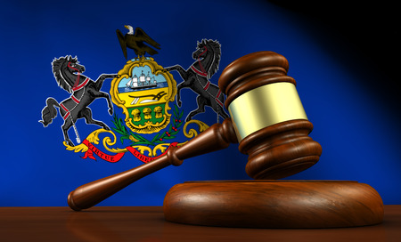 lawsuit: Pennsylvania state laws, legal system and justice concept with a 3D rendering of a gavel and the Pennsylvanian flag on background.