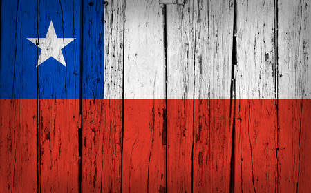 chilean flag: Chile state grunge wood background with Chilean flag painted on aged wooden wall.