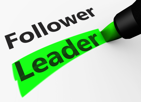 business leadership: Business leadership concept with a 3d rendering of follower and leader word and text highlighted with a green marker.