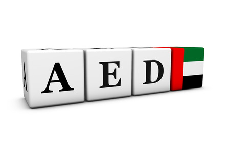 dirham: Currency rates, exchange market and financial stock concept with AED United Arab Emirates dirham code and the Emirati flag on cubes isolated on white 3D illustration.