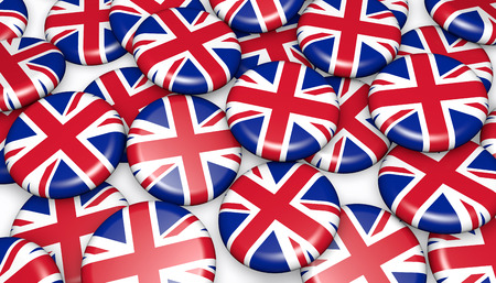 national holiday: United Kingdom background with union jack flag on badges 3D illustration for UK national day events, holiday and celebration.