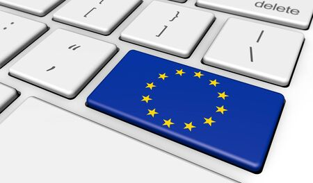 EU: European Union digitalization and use of digital technologies concept with the EU flag on a computer keyboard 3D illustration. Stock Photo