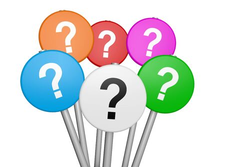 question: Business and customers questions concept with question mark symbol and icon on colorful sign 3D illustration isolated on white background.