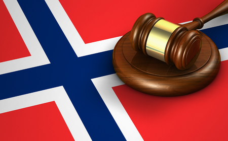 norwegian flag: Norway laws, legal system and justice concept with a 3D rendering of a gavel and the Norwegian flag on background.