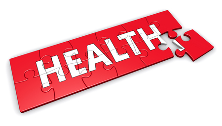 achieve goal: Healthy lifestyle developing concept with health sign and word on a red puzzle 3D illustration isolated on white background.