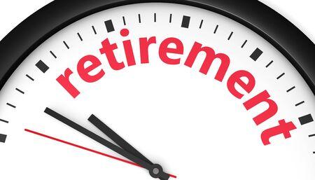È ora di andare in pensione concetto di stile di vita con una parola orologio e il pensionamento e del segno stampato immagine Illustrazione 3D rosso. Archivio Fotografico