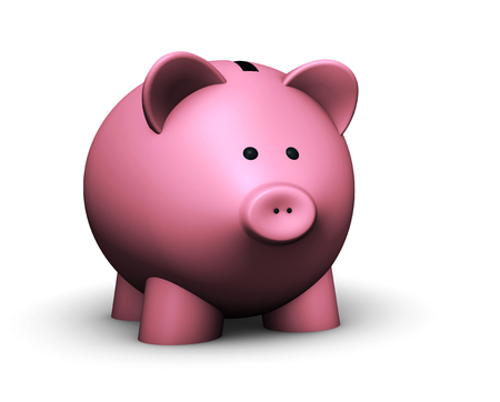pensions: Pink piggy bank savings concept 3D illustration on white background.