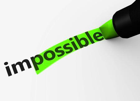 marker: concepto de negocio pensamiento positivo con el texto imposible y de signos y letras posibles resaltada con un marcador de ilustración 3D. Foto de archivo