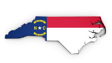 Map of North Carolina Us State with North Carolinian flag on 3D illustration shape on white background.