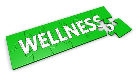 healty lifestyle: Healty lifestyle development concept with wellness sign and word on a green jigsaw pieces puzzle 3D illustration isolated on white background.