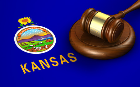 legality: Kansas US state law, code, legal system and justice concept with a 3D rendering of a gavel on the Kansan flag on background.