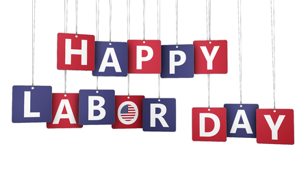 national holiday: Happy labor day US national holiday concept with sign, letters and USA flag symbol on paper tags isolated on white background 3D illustration.
