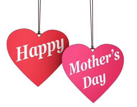 paper heart: Happy Mothers day sign and text on two red and pink hearts shaped tags decoration concept 3D illustration isolated on white background.