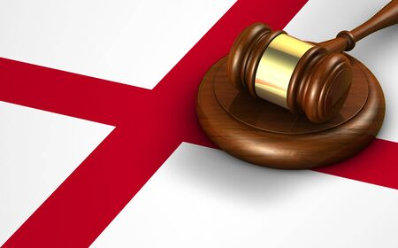 legal law: Alabama US state law, code, legal system and justice concept with a 3D rendering of a gavel on the Alabaman flag on background.