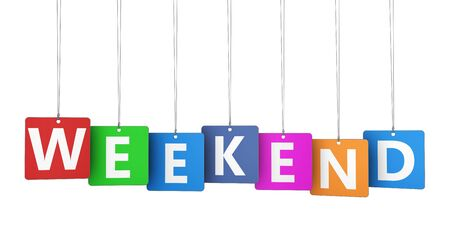 weekend: Weekend sign on colorful tags concept with word and letters 3D illustration isolated on white background.