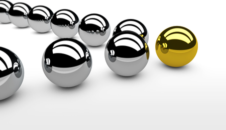 leadership concept: Business leadership concept with a gold leader sphere and silver followers 3D illustration.