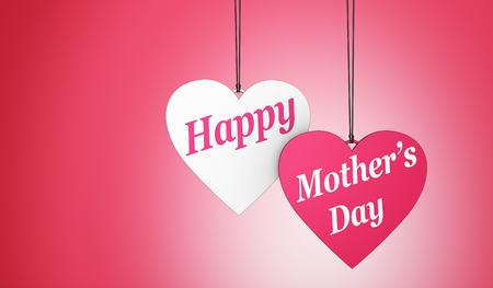 madre: signo del día de la madre feliz y texto en forma de dos corazones etiquetas de la decoración y de la tarjeta con el concepto de espacio de la copia de la ilustración 3D.