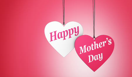 Happy Mothers day sign and text on two hearts shaped tags decoration and card with copy space concept 3D illustration. Stock Photo