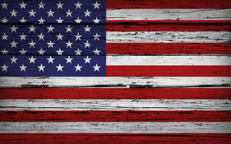 american flag: USA grunge wood background with US flag painted on aged wooden wall. Stock Photo