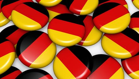 national holiday: German flag on pins badges background image for German national day events, holiday, memorial and celebration 3D illustration.