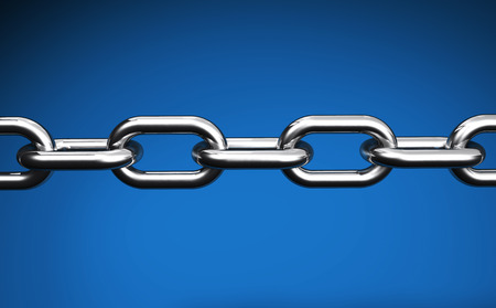 Steel chain web links and business collaboration concept closeup 3D illustration on blue background. Stock Photo