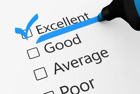 ottimo: sondaggio di business del prodotto controllo di qualità e servizio clienti eccellente lista di controllo con la parola controllato con un assegno blu illustrazione punto 3D.