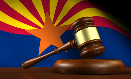 phoenix arizona: Arizona US state laws, legal system and justice concept with a 3D rendering of a gavel and the Arizonan flag on background. Stock Photo